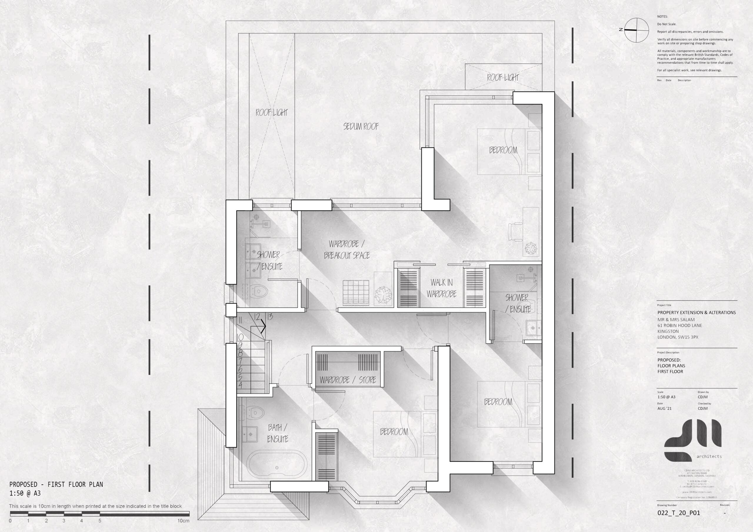 First Floor Plan - Modern Two Storey Extension, Kingston, London SE15